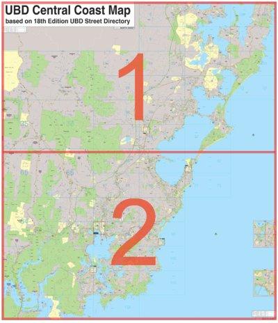Central Coast Australia Map.Laminated Wall Maps Nsw Central Coast 2 Sheet N S Sydney Australia