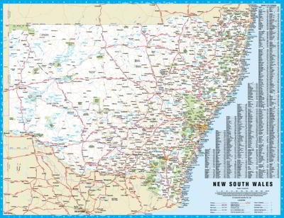 Map Of Nsw Australia.Laminated Wall Maps Nsw New South Wales Small Sydney Australia