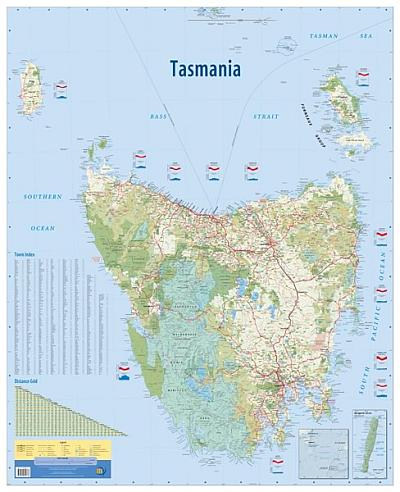 Australia Driving Map.Laminated Wall Maps Tas Tasmania Wall Map Sydney Australia