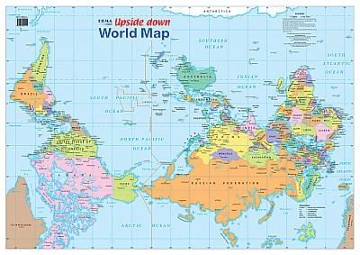 Sydney Australia World Map.Laminated Wall Maps World Upside Down World Map Sydney Australia