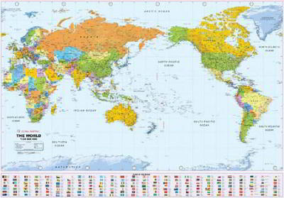 Laminated Wall Maps World World Political Large Pacific Centred