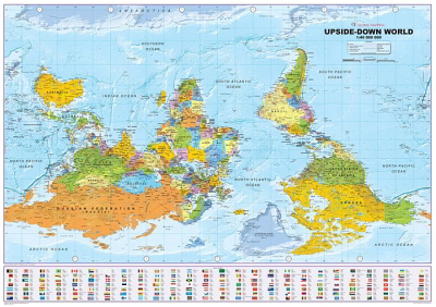 Australia Map Upside.Laminated Wall Maps World Eurocentric Upside Down World Map