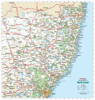 Map Of Nsw Australia.Laminated Wall Maps Nsw North Coast Reference Sydney Australia