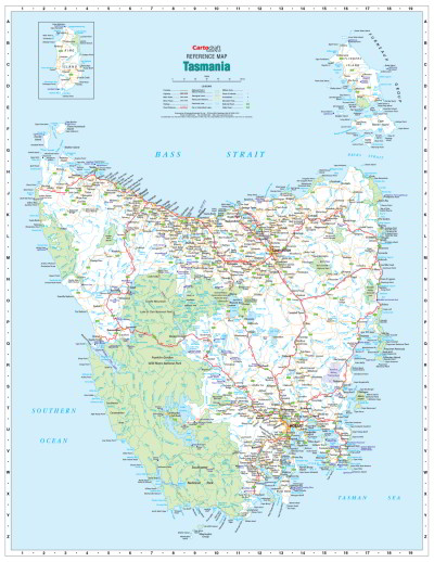 Laminated Wall Maps TAS Tasmania Reference Map Sydney Australia - Easy to read world map