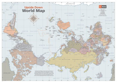 Sydney Australia World Map.Laminated Wall Maps World Upside Down Classic World Map Sydney