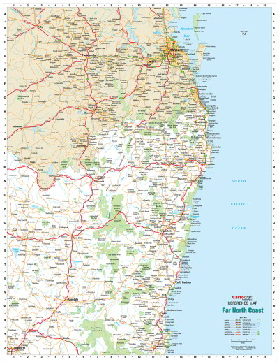 Laminated Wall Maps - NSW - Far North Coast Reference ...