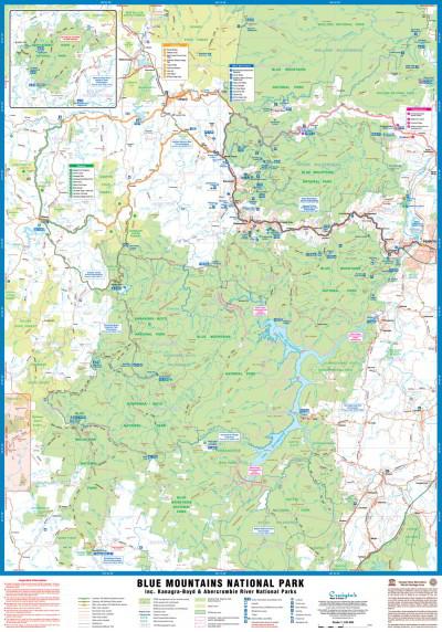 Australia Map Mountains.Craigies Laminated Maps Blue Mountains National Parks Sydney